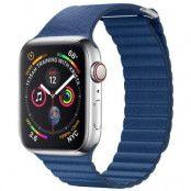 Qialino Magentic Läderloop Strap till Apple Watch 4 44mm / Watch 3 42mm - Blå
