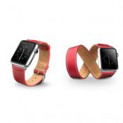 Qialino Watchband i äkta läder till Apple Watch 42mm - Röd