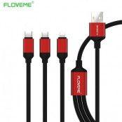 Floveme USB kabel med tre olika anslutningar - Lightning - Micro USB - Type-C