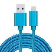 USB kabel Lightning kontakt för iPhone & iPad Blå/Nylon. 3m