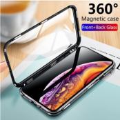 iPhone 11 Pro Skal Magnetisk Metallram + Härdat Glas Heltäckande Fram och Bak
