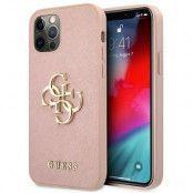 GUESS Skal iPhone 12 Pro Max Saffiano Metal Logo - Rosa