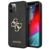 GUESS Skal iPhone 12 Pro Max Saffiano Metal Logo - Svart