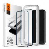 SPIGEN ALM FC 2-Pack Härdat Glas iPhone 12 & iPhone 12 Pro - Svart