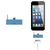 30 pin till lightning 3.5mm audio adapter till iPhone 5S/5 (Blå)