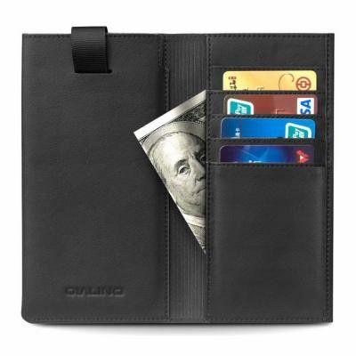 Qialino Universal Pouch Wallet i äkta läder - Svart