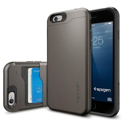 SPIGEN Slim Armor Card Slider Skal för Apple iPhone 6/6S (GunMetal)