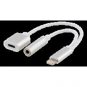Epzi Lightning till 3,5 mm adapter, stödjer laddning och ljud, silver