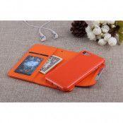 Litchi Detachable Plånboksfodral till iPhone 7 - Orange