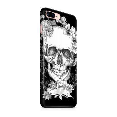 Skal till Apple iPhone 7 Plus - Dödskalle - Blommor