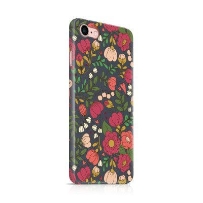 Skal till Apple iPhone 7 - Retro Blommor - Grå