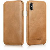 iCarer Curved Edge Vintage Leather Case (iPhone X/Xs) - Beige