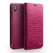 Qialino Pink Croco Leather Wallet (iPhone X/Xs)