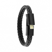 ERCKO DOUBLE LEATHER BRACELET CHARGING CABLE LIGHTNING SIZE M BLACK