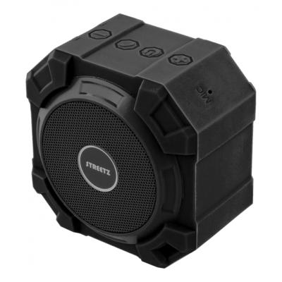 STREETZ vattentät Bluetooth högtalare, IPX5 spolsäker, svart