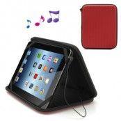 Universalt Tablet-fodral med inbyggd högtalare - Röd