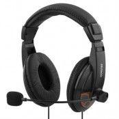 Deltaco headset, sluten, volymkontroll på kabeln - Svart