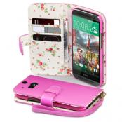 Floral Plånboksfodral till HTC One M8 - Magenta
