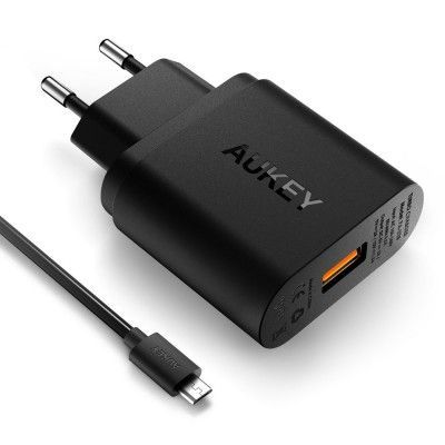 Aukey Qualcomm Certified Quick charger 3.0 - Svart