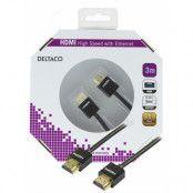 DELTACO tunn HDMI-kabel, 3m, svart blister