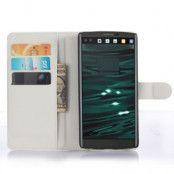 Lychee Skin Plånboksfodral till LG V10 - Vit
