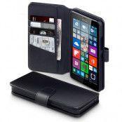Plånboksfodral av äkta läder till Microsoft Lumia 640 XL - Svart
