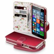 Terrapin Floral Plånboksfodral till Microsoft Lumia 640 - Röd