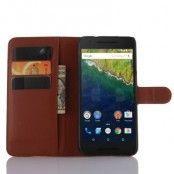 Litchi Plånboksfodral till Google Huawei Nexus 6P - Brun