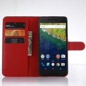 Litchi Plånboksfodral till Google Huawei Nexus 6P - Röd