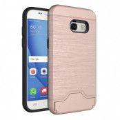 Brushed Mobilskal med kortfack Samsung Galaxy A3 2017 - Roséguld