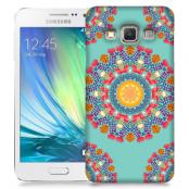 Skal till Samsung Galaxy A3 - Blommigt mönster - Turkos