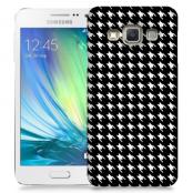 Skal till Samsung Galaxy A3 - Mönstrat tyg - Svart