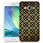 Skal till Samsung Galaxy A3 - Rutmönster - Svart/Guld