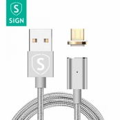 SiGN Magnetkabel USB-C 2.4A 1 m - Silver