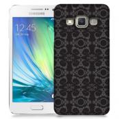 Skal till Samsung Galaxy A7 - Mönstrad tapet - Svart/Grå
