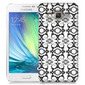 Skal till Samsung Galaxy A7 - Mönstrad tapet - Vit/Svart