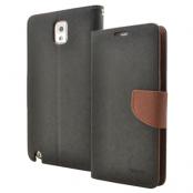 Mercury Fancy Diary Plånboksfodral till Samsung Galaxy Note 3 N9000 (Svart-Brun)