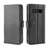 Genuine Split Plånboksfodral till Samsung Galaxy S10 Plus - Svart