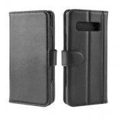 Genuine Split Plånboksfodral till Samsung Galaxy S10 - Svart