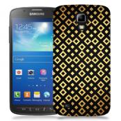 Skal till Samsung Galaxy S5 Active - Rutmönster - Svart/Guld