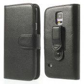 Belt Clip Holster Plånboksfodral till Samsung Galaxy S5 - (Svart)