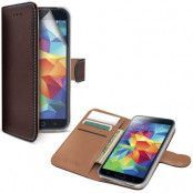 Celly Leather Wallet till Samsung Galaxy S5 - Brun