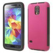 Combo Skal med inbyggd skärmskydd till Samsung Galaxy S5 (Magenta)