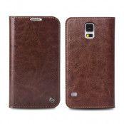 Qialino Äkta Läder Plånboksfodral till Samsung Galaxy S5 - Brun