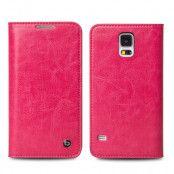 Qialino Äkta Läder Plånboksfodral till Samsung Galaxy S5 - Magenta