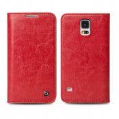 Qialino Äkta Läder Plånboksfodral till Samsung Galaxy S5 - Röd