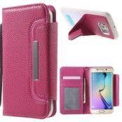 Detachable Plånboksfodral med Kickstand Skal till Samsung Galaxy S6 Edge - Rosa