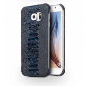 Qialino Äkta Läder BaksideSkal till Samsung Galaxy S6 Edge - MörkBlå