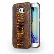 Qialino Äkta Läder BaksideSkal till Samsung Galaxy S6 - Brun