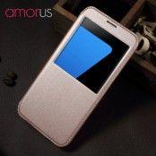 Amorus Slim Window Mobilfodral till Samsung Galaxy S7 Edge - Rose Gold